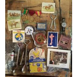 Kyпить Vintage Junk Drawer Lot Military Medals, Old Advertising Opener Spoons, Small  на еВаy.соm