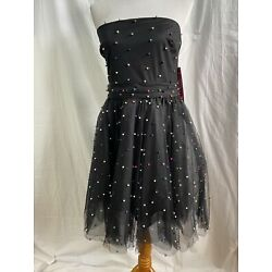 NWT Betsey Johnson Wait Tulle Then Black Strapless Dress Sz 14 Fit &Flare Beaded