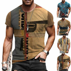 T-Shirt Mens Vintage Printed Short Sleeve Blouse Summer Casual Fitness Tops Tee