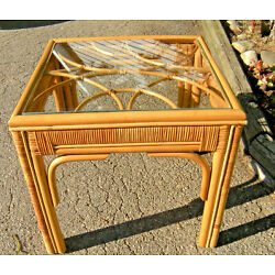 Kyпить Bamboo Vintage MCM Small Square Table with glass top Unique Funky Cool на еВаy.соm