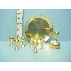 Miniature Brass Wine Set-#1745-100 Clare-Bell Brass Works 1/12th Scale