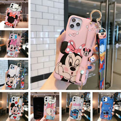 For iPhone 13 12 11 Pro Max XS XR Cover Cute Cartoon Back Case Stand Hand Strap