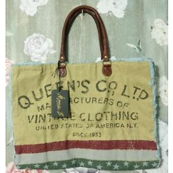 Mona B Large Upcycled Canvas Tote Bag Queen's Co Vintage Clothing Distressed NEW
