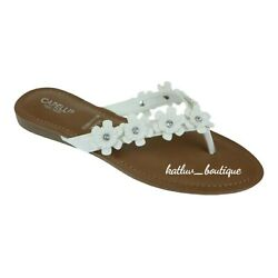 Capelli New York Women s Floral White Thong Sandals, Sizes, 7, 8, 9, 10, 11