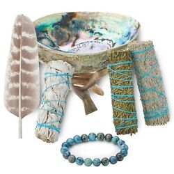 Sage Smudge Kit with Feather White Sage, Blue Sage, Cedar, Abalone Shell & Stand