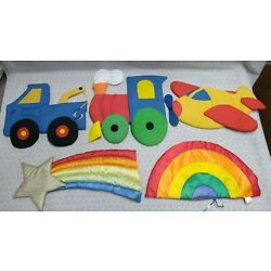Vintage Wooltex Flat Quilted Nursery Wall Hanging Decor Lot Rainbow Star 1980s