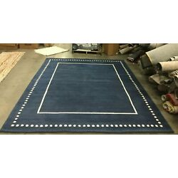 NAVY BLUE / IVORY 8' X 10' Back Stain Rug, Reduced Price 1172630159 BEL151G-8
