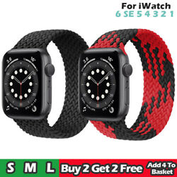 Braided Solo Loop For Apple watch band Nylon Elastic iWatch series 6 5 4 3 2 1*
