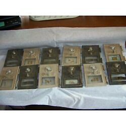 VINTAGE LOT OF 12 BRASS POST OFFICE BOX COMBINATION DOOR ONE FLYING EAGLE OLD