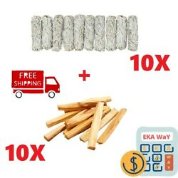 20 Pack { 10 Palo Santo Holy Wood Incense + 10 White Sage Smudge 4'' } Great Deal