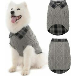 Warm Dog Sweater Winter Clothes Plaid Patchwork Pet Doggy Knitted Sweaters MEDIU