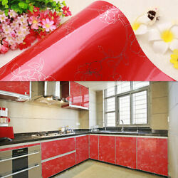 Self Adhesive Flower Red Peel and Stick Wallpaper Contact Paper Damask 61X250cm