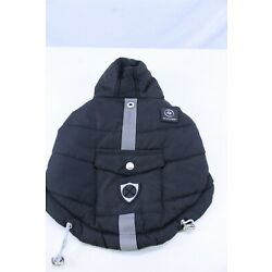 Pet Clothing Puffy Jacket Black Size XX-Small with Reflective Tape Down Middle