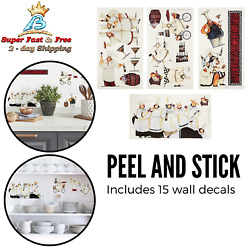 Italian Fat Chefs Wall Decals Kitchen Chef Stickers Cooking Cafe Decorations NEW