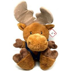 G by GUND Silly Paws moose brown w/blue suspenders 16'' plush stuffed animal NWT
