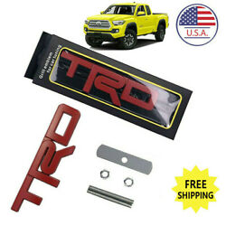 Red For TRD Grille Badge Front Emblem 3D Car Metal Logo with Screw Fittings US