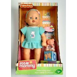 Fisher Price Little Mommy Baby's Big Day Doll 12'' Discontinued Blue Dress