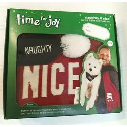 Time For Joy Naughty & Nice Parent & Pet Scarf Gift Set For Dogs S/M NEW