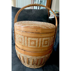 Vtg Large 2 Tier 17 Inch Tall CHINESE WEDDING BASKET Woven Wicker and Bamboo