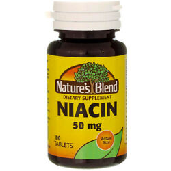 3 Pack Nature's Blend Niacin Tablets, 50 mg, 100 Ct
