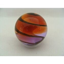 Contemporary Orange & Lilac Swirl 1 3/8 Inch Art Glass Marble Signed