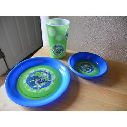 Dr Suess Childrens Dining Set of 3 yertle turtle tertle New Plate Bowl Cup