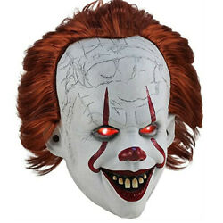 LED Halloween Mask Joker Pennywise Stephen King IT Clown Cosplay Horror Props A