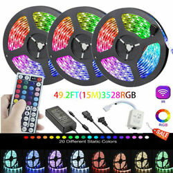 49Ft RGB Flexible LED Strip Light 3528 SMD Remote Fairy Lights Room TV Party Bar