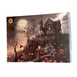Halloween Light & Sound Haunted House Canvas Wall Art LED Lights Trick or Treat