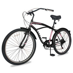 Mountain Adult Beach Cruiser Bike with Lock-Out Suspension Fork 26'' 7speed bike