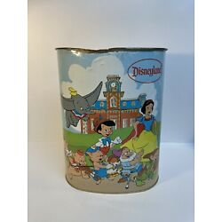 1970s - Walt Disney World Trash Can Waste Can Tin Litho Character Chein Co. BH1