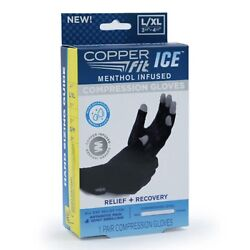 Copper Fit unisex adult Ice Compression Gloves Infused with Menthol and Coq10...