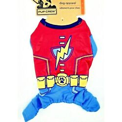 Dogs Superhero Outfit Size S or M One-Piece Blue Red Poly-Cotton Pup Crew