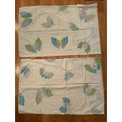 Pair Vintage Lady Pepperell MCM Standard Pillowcases Blue Butterfly