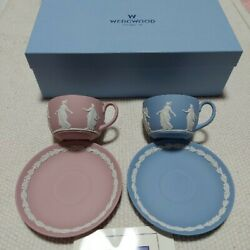 Wedgwood Jasperware Dancing Hours Cup Saucer Set:2  with BOX NEW