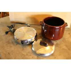 Vintage Mid Century West Bend Bean Pot with Working Automatic Heat - Rite Base