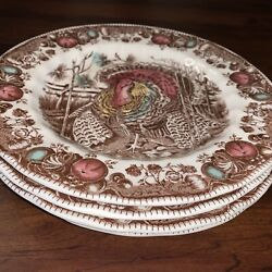 Johnson Brothers HIS MAJESTY Turkey Dinner Plate Set Of 4 Thanksgiving