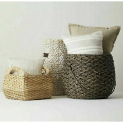 2 X TRESHOLD 15''x18'' Large Round Basket Espresso Brown Handcrafted Seagrass NEW