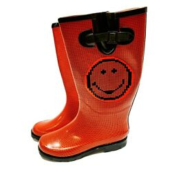 Happy Face Women's Rain Boots, Size 9 - Red, Never Used
