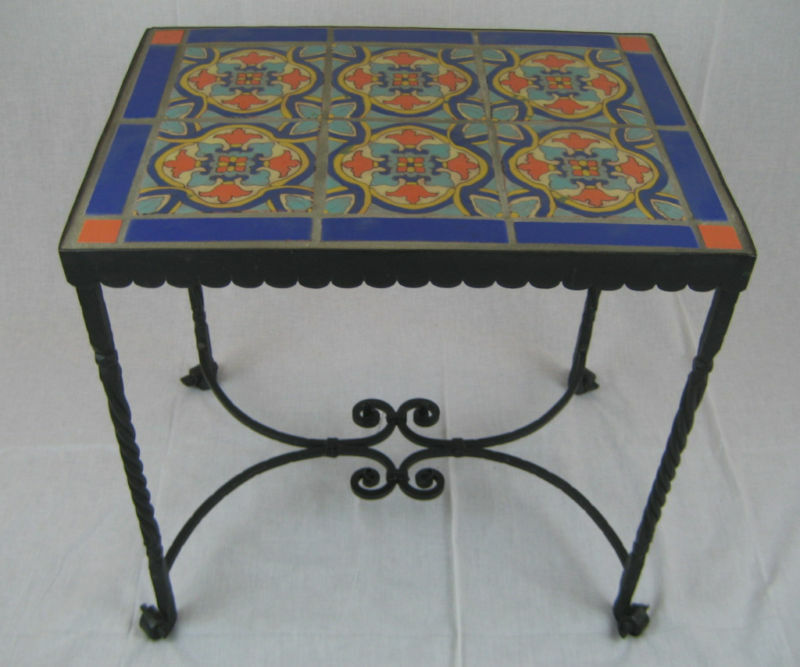 Spanish revival california tile wrought iron table ebay for Javascript table th width