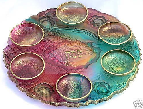 Richly Colored Handcrafted Glass Art Passover Pesach Seder ...