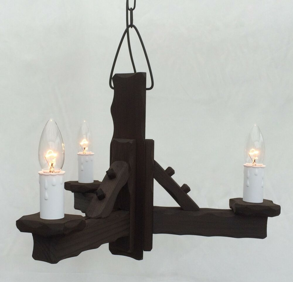 Rustic Ceiling Light Rustic Light Fixture Rustic Wood: Traditional Rustic Wooden 3-Light Pendant / Ceiling