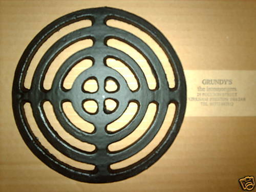 Quot round cast iron gully grid driveway drain cover ebay