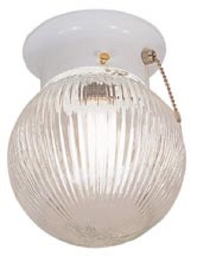 Ceiling Light Fixture W Pull Chain 6 Round Globe New