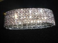 WOW BLING - 6 ROW DIAMANTE STRETCH BRACELET WEDDING UK