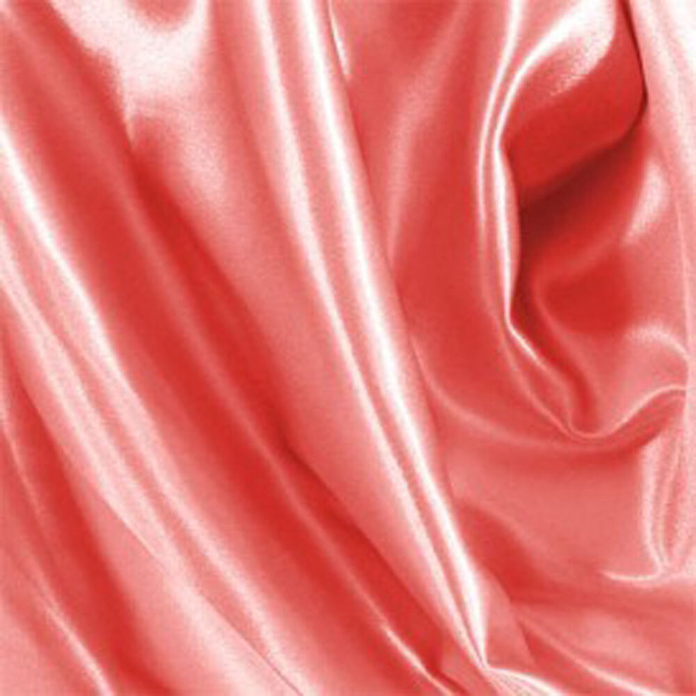 10 yards shiny bridal satin fabric 60 coral ebay for Satin fabric
