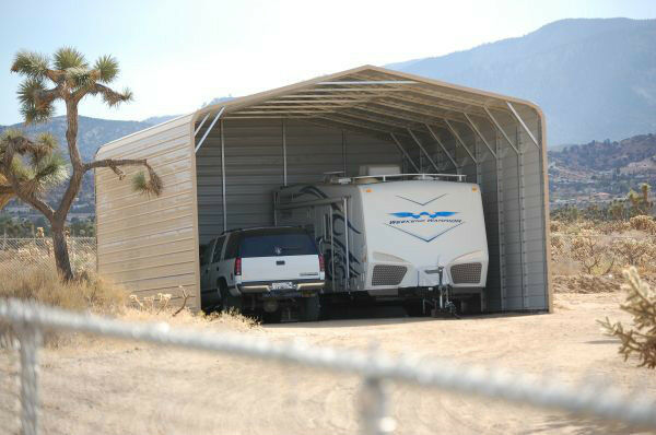 Pre fab barns steel buildings carports garages rv ports for Motorhome garage kits
