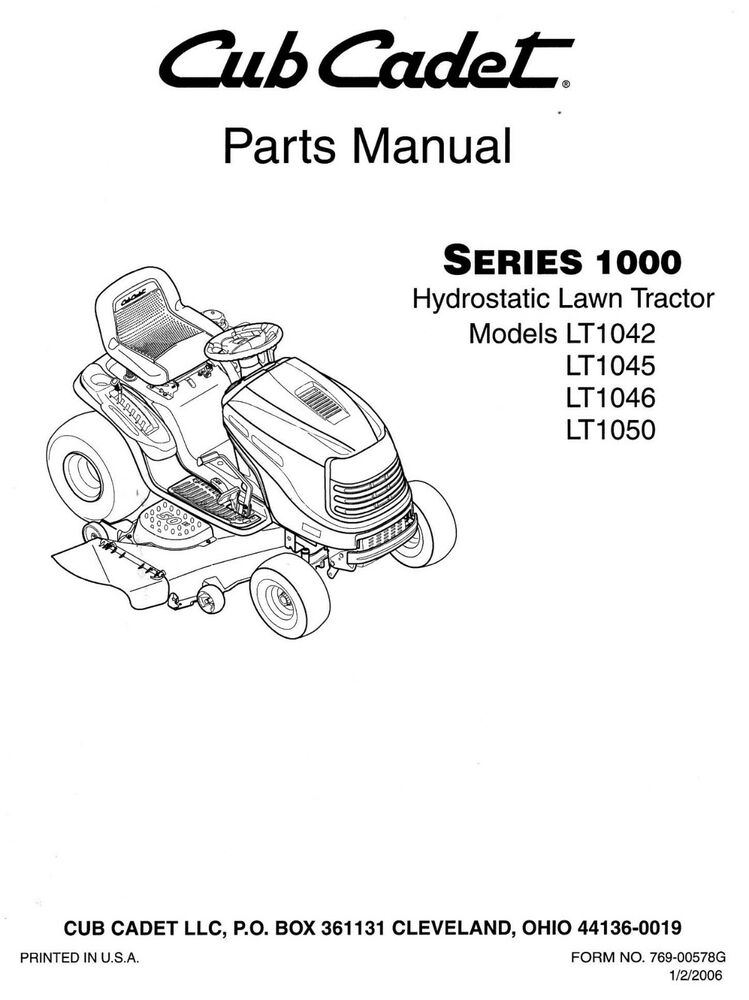 Cub Cadet Lt1042 Lt1045 Lt1046 Lt1050 Lawn Tractor    Mower Parts Manual