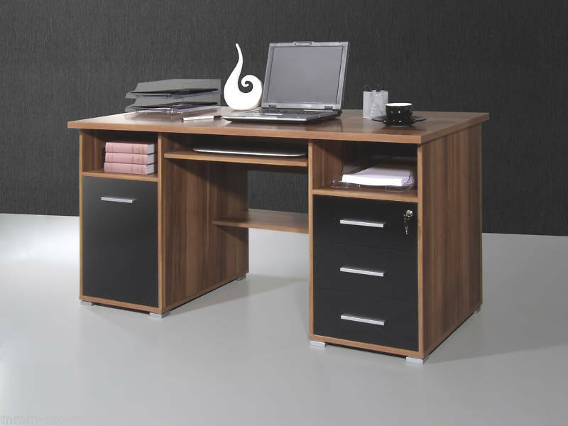 b ro computertisch b rom bel schreibtisch walnuss schw ebay. Black Bedroom Furniture Sets. Home Design Ideas