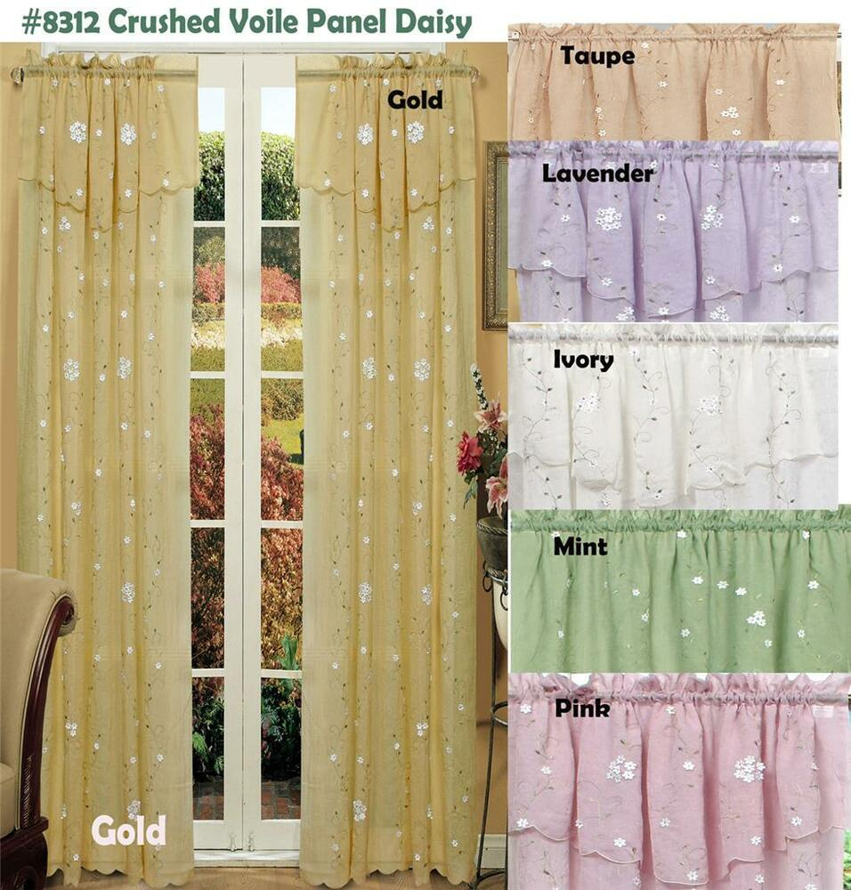 Spring Daisy Embroidery Window Curtain Panel Crushed Sheer 2 Pieces New Ebay